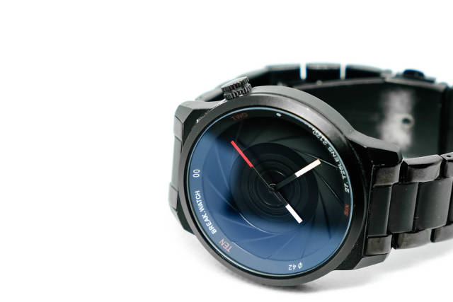 Close up shot of wristwatch on white background