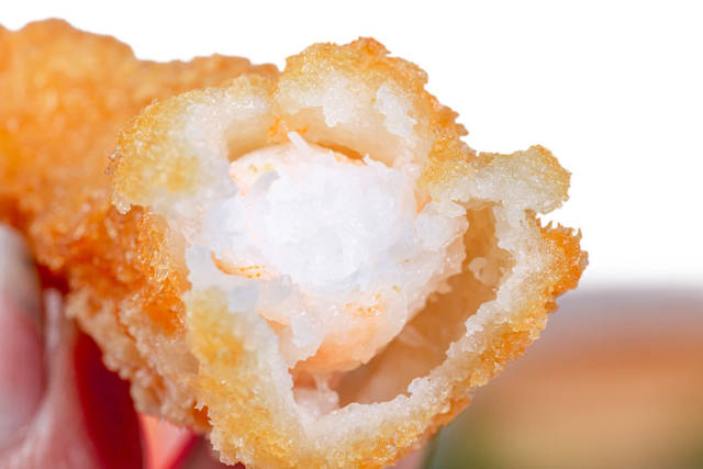 Shrimp fried in breadcrumbs, close up