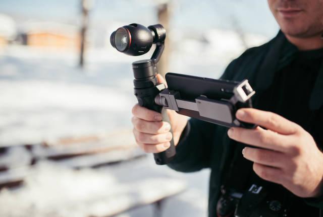 Man shooting video with DJI Osmo gimbal