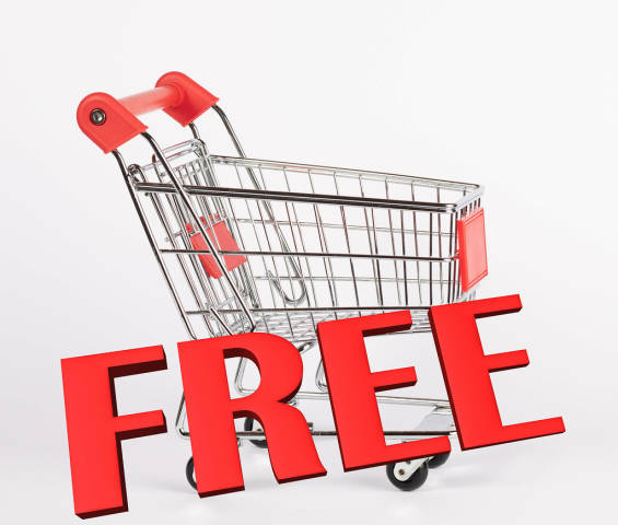 Shopping cart with a big red free text