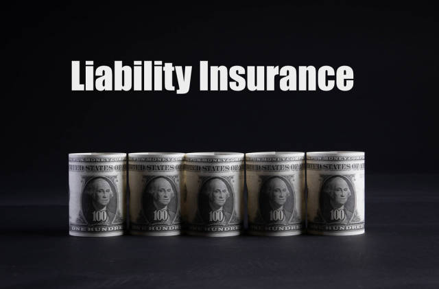 Dollar money banknotes rolls with Liability Insurance text