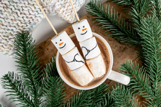 Top view, marshmallow snowmen in a cup of cocoa with branches of a christmas tree