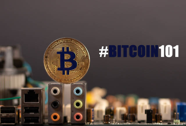 Golden Bitcoin with computer parts and #Bitcoin101 text