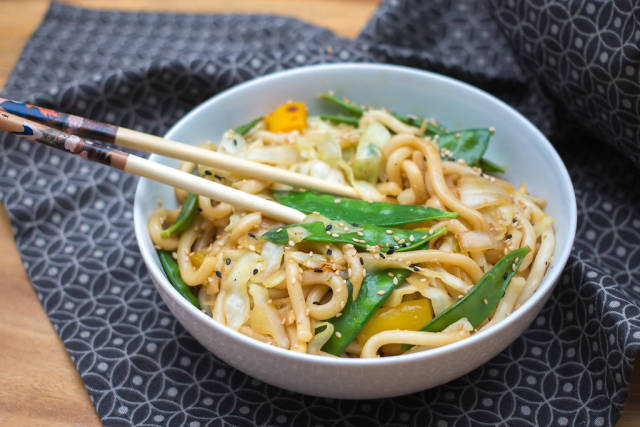 Chow Mein with Vegetables, snow pea, onions and peppers