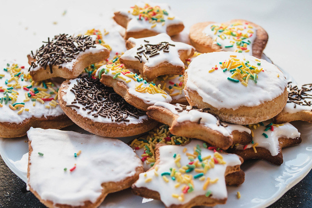 Group of various shaped decorated ginger cookies
