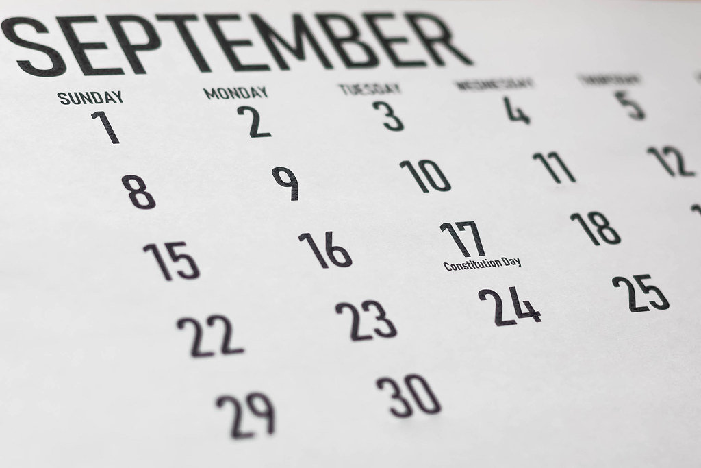 Constitution Day and Citizenship Day September 17 at white monthly calendar