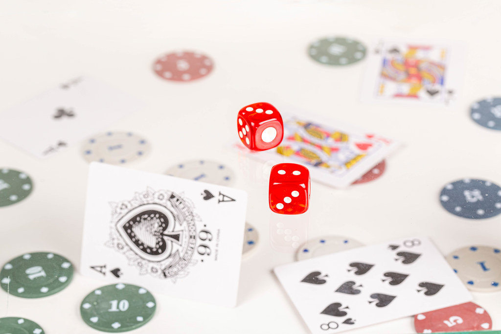 Dice, cards and chips - gambling concept