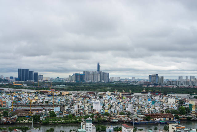 Ho Chi Minh City Skyline with Landmark 81 over the Clouds