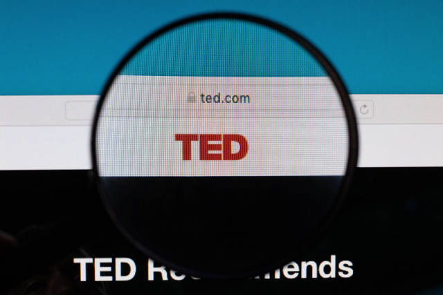 TED logo under magnifying glass