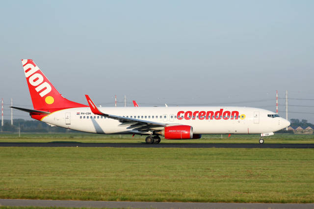 Corendon plane taxiing in Amsterdam Airport, AMS