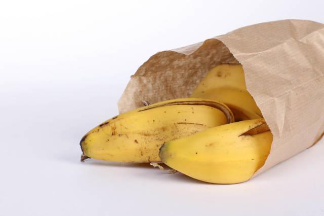 Banana peels in a paper bag