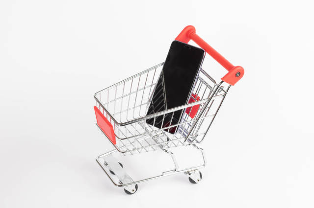 Smartphone in shopping cart