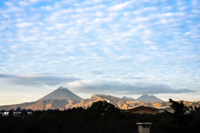 Beautiful view of Agua, Fuego, and Acatenango Volcanos