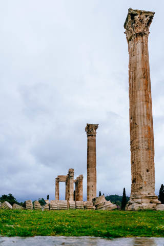 Remaining columns of the ancient Acropolis in Athens, Greece