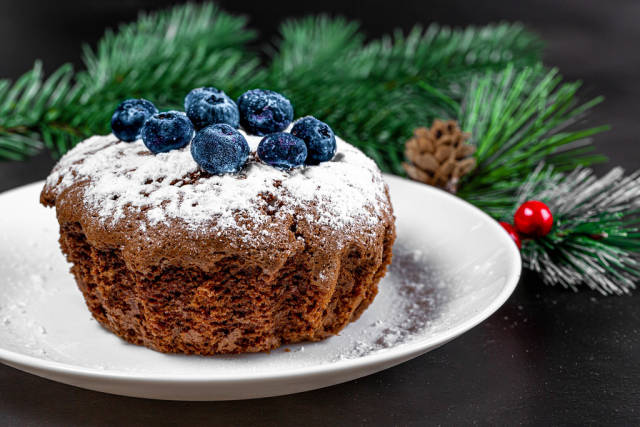 Chocolate cupcake with icing sugar and blueberries on Christmas background