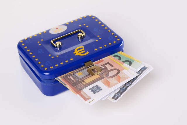 Blue metal cash box with Euro banknotes