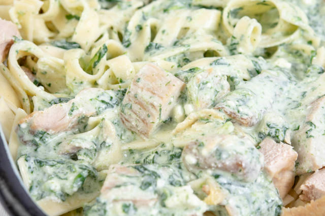 Macaroni with Spinach and Chicken Meat closeup image