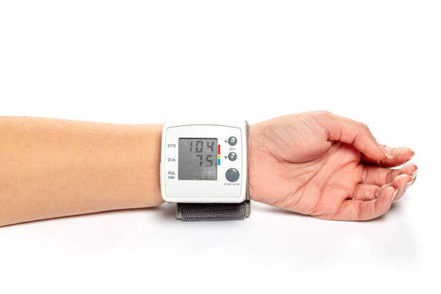 Blood pressure and pulse tonometer on the patients wrist