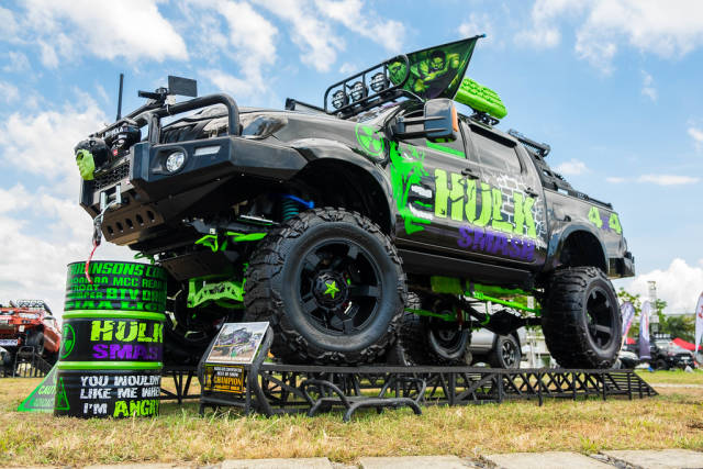 """A """"Hulk"""" themed monster truck at a local car show"""
