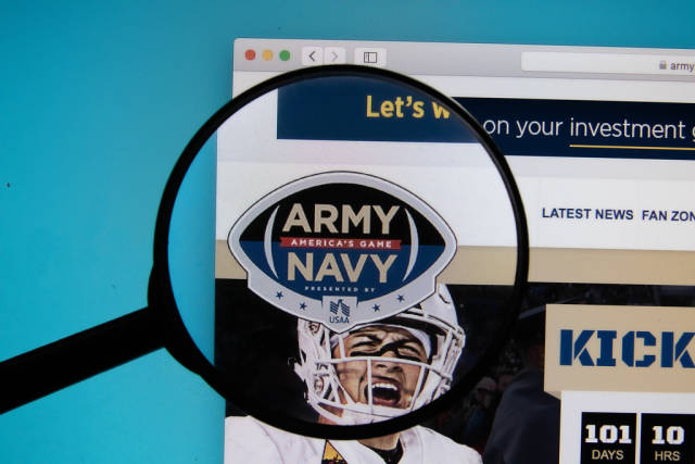 Army-Navy Game logo on a computer screen with a magnifying glass