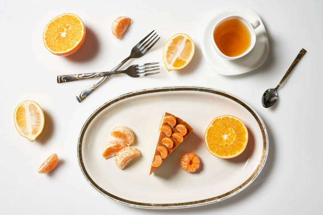 Healthy breakfast with fruits, gluten-free cake and fruits
