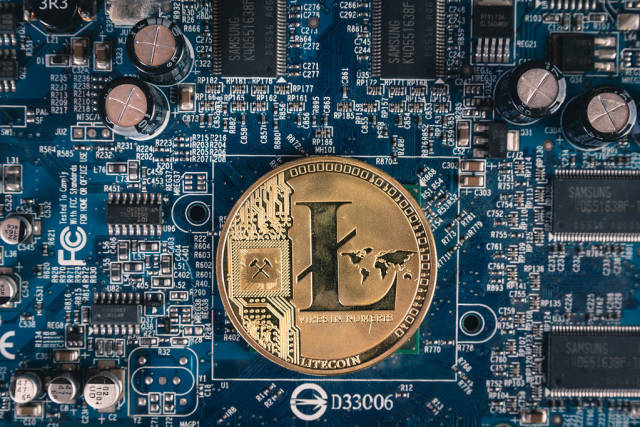 Litecoin on a computer mother board