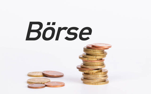 Stack of coins with text Börse