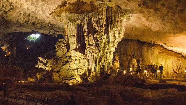 Big Underground Cave Halong Bay Vietnam