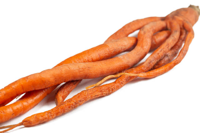 Carrots of an unusual shape, close-up