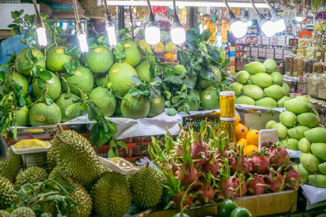 Different Tropical Fruits sold at Tourist Market in Saigon