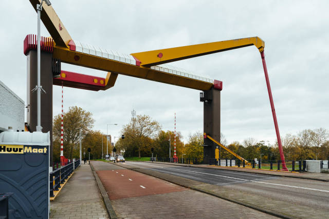 Movable bridge IJdoornlaanbrug over a canal in Amsterdam, front side