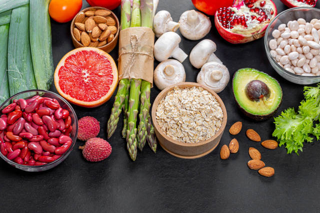 Variety of healthy products for vegetarian food.Top view