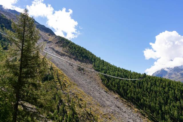 Lognest pedestrian Charles Kuonen suspension bridge in the world