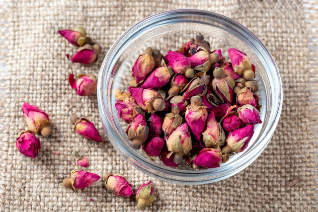 Dried rose bud, which are used for making tea