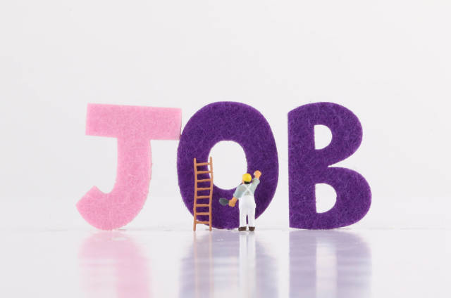 Miniature worker with Job text on white background