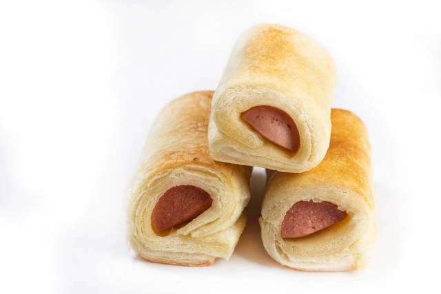 Roll buns with Hot Dog with Copy Space on white background