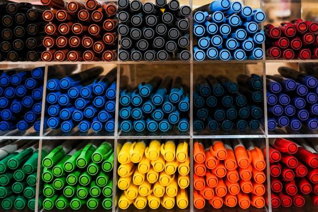 Colorful pens on display (Flip 2019)