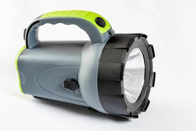 LED flashlight on white background