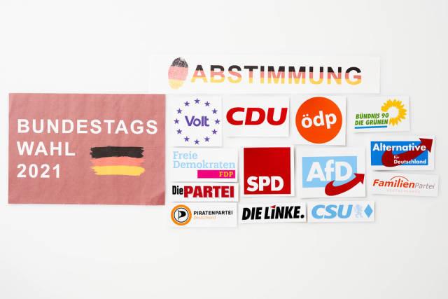 Volt, CDU, die Grünen, FDP, CSU, AfD, die Linke, die Piratenpartei vor der Bundestagswahl 2021