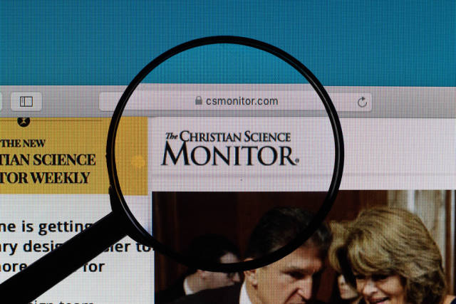 Christian Science Monitor logo under magnifying glass