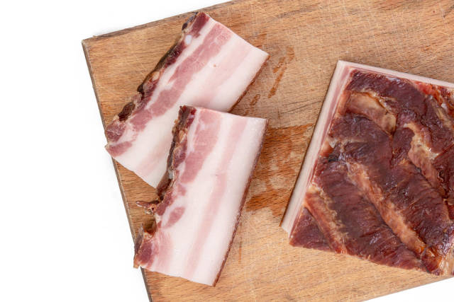 Top view of Smoked homemade bacon