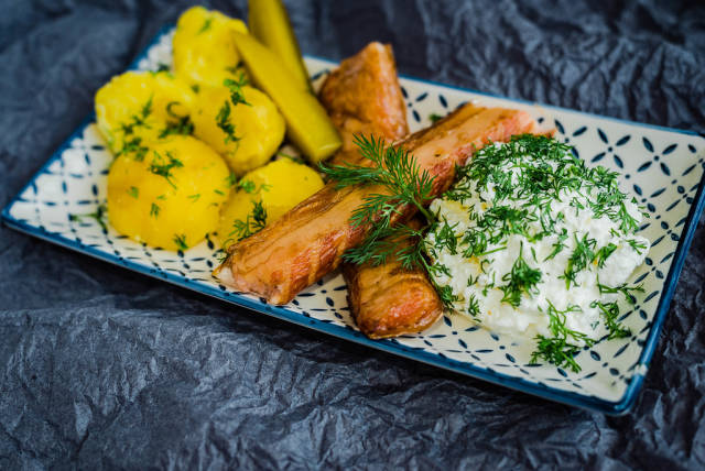 Plate Of Fresh Smoked Salmon With curd And Potatoes