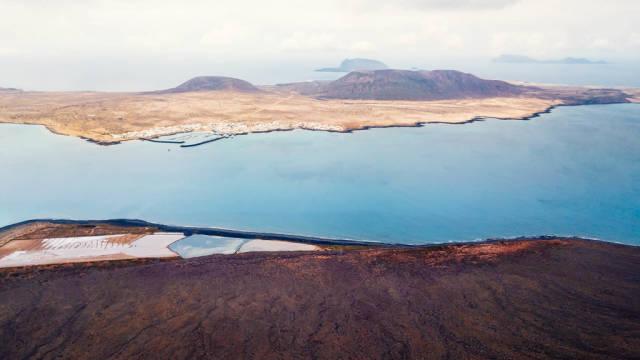 Panorama of La Graciosa Island in the ocean