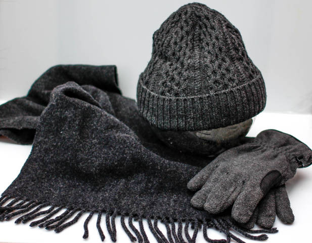 Grey Winter Accessories, Glove, Scarf and a Hat
