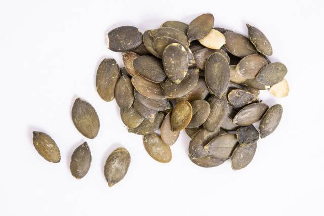 Top view of Dried saulty Pumpkin Seeds