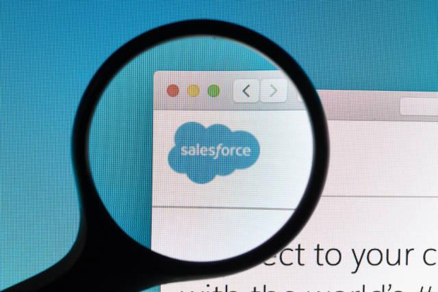 Salesforce logo under magnifying glass