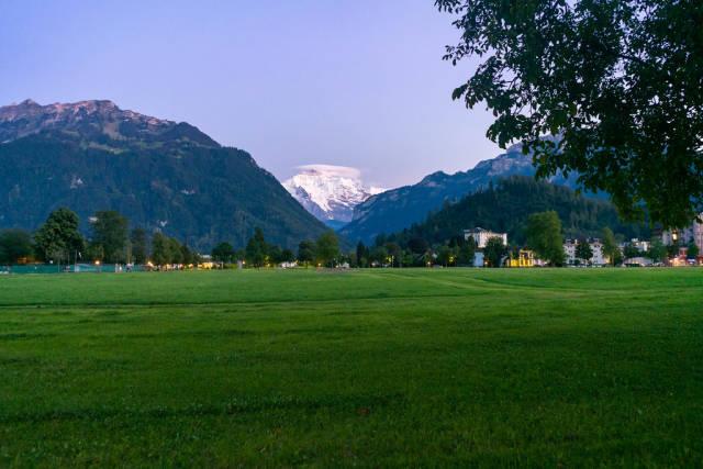 View of Männlichen mountain peak from resort town of Interlaken