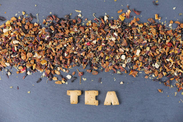 Tea biscuits and dry tea leaves