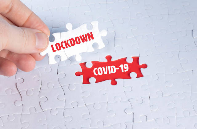 Missing puzzle pieces with a Covid-19 Lockdown text