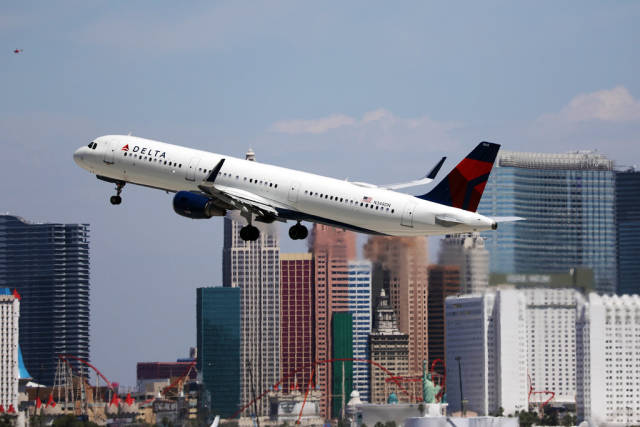 Delta Air Lines plane taking off from Las Vegas airport, LAS